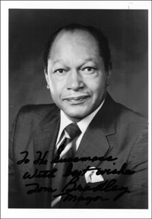 MAYOR TOM BRADLEY - AUTOGRAPHED INSCRIBED PHOTOGRAPH