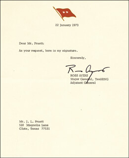 MAJOR GENERAL ROSS AYERS - TYPED NOTE SIGNED 01/22/1973