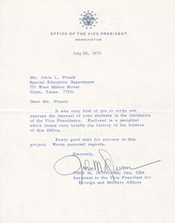 MAJOR GENERAL JOHN M. DUNN - TYPED NOTE SIGNED 07/20/1973