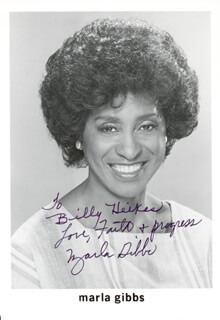 MARLA GIBBS - AUTOGRAPHED SIGNED PHOTOGRAPH