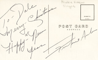 Autographs: FRANKIE AVALON - INSCRIBED PICTURE POSTCARD SIGNED