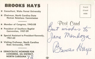 BROOKS HAYS - AUTOGRAPHED INSCRIBED PHOTOGRAPH 1972