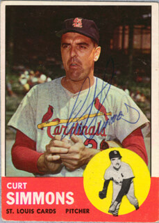 CURT SIMMONS - TRADING/SPORTS CARD SIGNED