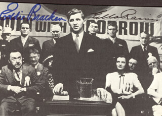 HAIL THE CONQUERING HERO MOVIE CAST - AUTOGRAPHED SIGNED PHOTOGRAPH CO-SIGNED BY: EDDIE BRACKEN, ELLA RAINES