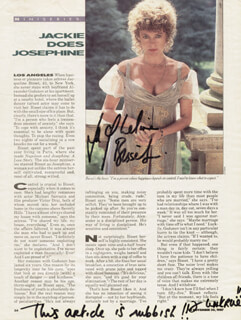 JACQUELINE BISSET - MAGAZINE ARTICLE SIGNED CIRCA 1987