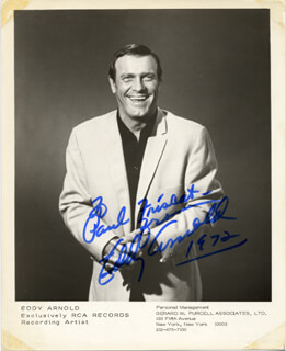 EDDY ARNOLD - AUTOGRAPHED INSCRIBED PHOTOGRAPH 1972