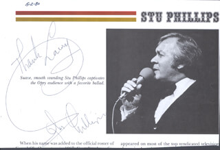 STU PHILLIPS - INSCRIBED MAGAZINE PHOTO SIGNED