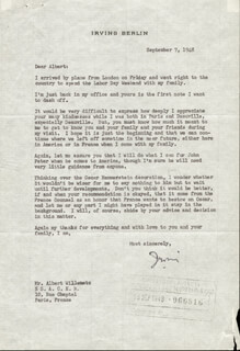 Autographs: IRVING BERLIN - TYPED LETTER SIGNED 09/07/1948