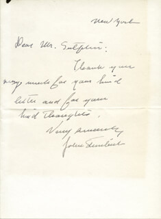JOHN STEINBECK - AUTOGRAPH LETTER SIGNED