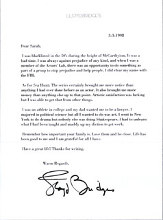 LLOYD BRIDGES - TYPED LETTER SIGNED 03/03/1998