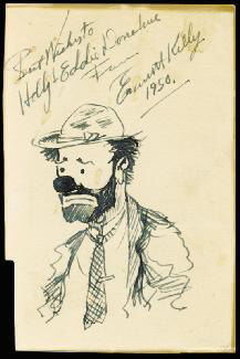 EMMETT KELLY SR. - INSCRIBED ORIGINAL ART SIGNED 1950