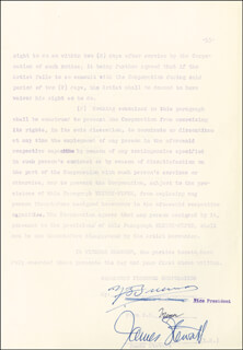 JAMES JIMMY STEWART - DOCUMENT SIGNED 08/10/1953