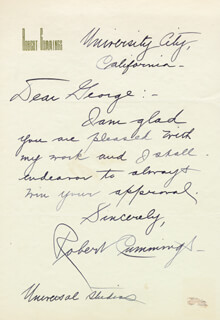 ROBERT BOB CUMMINGS - AUTOGRAPH LETTER SIGNED