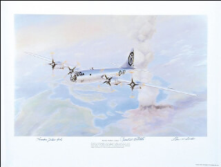 Autographs: ENOLA GAY CREW - ILLUSTRATION SIGNED CO-SIGNED BY: ENOLA GAY CREW (THEODORE VAN KIRK), ENOLA GAY CREW (PAUL W. TIBBETS), ENOLA GAY CREW (COLONEL THOMAS W. FEREBEE)