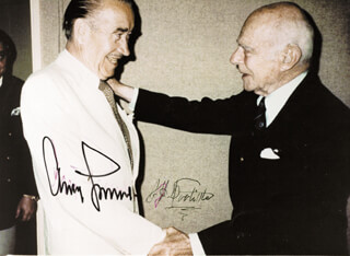 GENERAL ADOLF GALLAND - AUTOGRAPHED SIGNED PHOTOGRAPH CIRCA 1970 CO-SIGNED BY: BRIGADIER GENERAL JAMES H. JIMMY DOOLITTLE