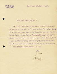 FREDERICK A. KRUPP - TYPED LETTER SIGNED 04/15/1899