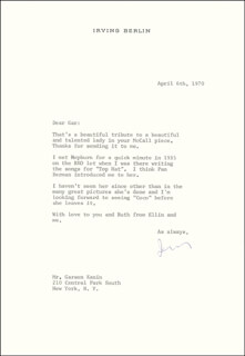 Autographs: IRVING BERLIN - TYPED LETTER SIGNED 04/06/1970