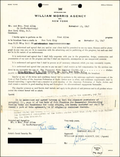 HUMPHREY BOGIE BOGART - DOCUMENT SIGNED 11/15/1947 CO-SIGNED BY: FRED ALLEN