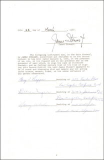 JAMES JIMMY STEWART - DOCUMENT SIGNED 03/22/1967