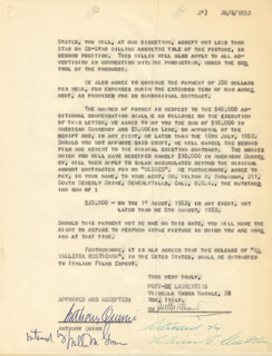ANTHONY QUINN - DOCUMENT SIGNED 06/30/1953 CO-SIGNED BY: PONTI DE LAURENTIS