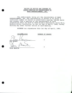 ROWAN & MARTIN - DOCUMENT SIGNED 04/01/1980 CO-SIGNED BY: ROWAN & MARTIN (DICK MARTIN), ROWAN & MARTIN (DAN ROWAN)
