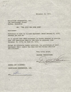 DANNY THOMAS - CONTRACT SIGNED 11/22/1974