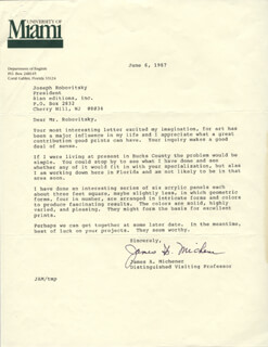 JAMES A. MICHENER - TYPED LETTER SIGNED 06/06/1987