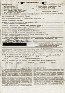 WILLIAM CONRAD - CONTRACT SIGNED 01/09/1978