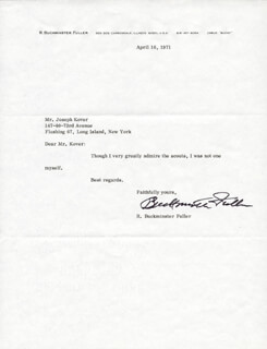 BUCKMINSTER FULLER - TYPED NOTE SIGNED 04/16/1971