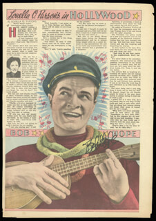 BOB HOPE - NEWSPAPER ARTICLE SIGNED CIRCA 1947