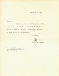 Autographs: ROBERT F. KENNEDY - TYPED LETTER SIGNED 11/16/1964