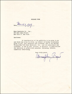 HUMPHREY BOGIE BOGART - DOCUMENT SIGNED 03/03/1949