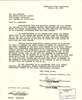 ABBOTT & COSTELLO (LOU COSTELLO) - DOCUMENT SIGNED 10/23/1952