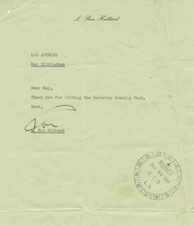 Autographs: L. RON HUBBARD - TYPED NOTE SIGNED CIRCA 1964