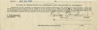 GEORGE GERSHWIN - DOCUMENT FRAGMENT SIGNED 10/25/1930