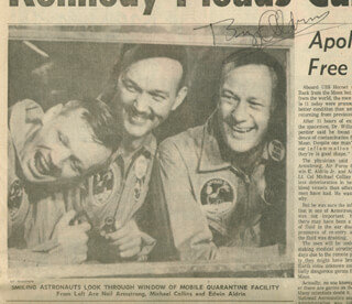COLONEL BUZZ ALDRIN - NEWSPAPER PHOTOGRAPH SIGNED CIRCA 1969