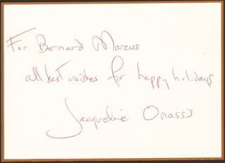 FIRST LADY JACQUELINE B. KENNEDY - AUTOGRAPH NOTE SIGNED