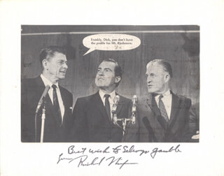 PRESIDENT RICHARD M. NIXON - INSCRIBED PHOTOGRAPH MOUNT SIGNED