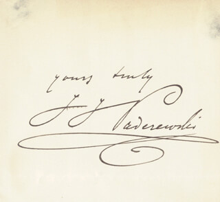 IGNACY JAN PADEREWSKI - AUTOGRAPH SENTIMENT SIGNED