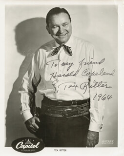 TEX RITTER - AUTOGRAPHED INSCRIBED PHOTOGRAPH 1964