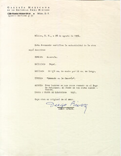 DIEGO RIVERA - DOCUMENT SIGNED 08/26/1956