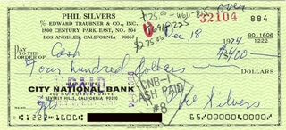 PHIL SILVERS - AUTOGRAPHED SIGNED CHECK 12/18/1974  - HFSID 217552