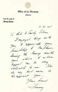 PRESIDENT JAMES E. JIMMY CARTER - AUTOGRAPH LETTER SIGNED 01/07/1975