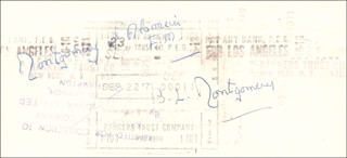 Autographs: FIELD MARSHAL MONTGOMERY OF ALAMEIN (BERNARD MONTGOMERY) - CHECK DOUBLE ENDORSED 09/08/1971
