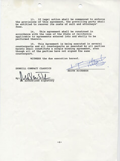 THE ROLLING STONES (KEITH RICHARDS) - DOCUMENT SIGNED 02/15/1989