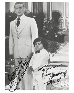FANTASY ISLAND TV CAST - AUTOGRAPHED SIGNED PHOTOGRAPH CO-SIGNED BY: RICARDO MONTALBAN, HERVE VILLECHAIZE