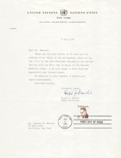 Autographs: RALPH J. BUNCHE - TYPED LETTER SIGNED 07/02/1964