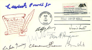 CHIEF JUSTICE WILLIAM H. REHNQUIST - FIRST DAY COVER SIGNED CO-SIGNED BY: ASSOCIATE JUSTICE BYRON R. WHITE, ASSOCIATE JUSTICE ANTHONY M. KENNEDY, ASSOCIATE JUSTICE LEWIS F. POWELL JR., ASSOCIATE JUSTICE DAVID H. SOUTER, ASSOCIATE JUSTICE CLARENCE THOMAS, ASSOCIATE JUSTICE RUTH BADER GINSBURG, ASSOCIATE JUSTICE JOHN PAUL STEVENS