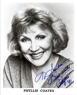 PHYLLIS COATES - AUTOGRAPHED INSCRIBED PHOTOGRAPH 1991