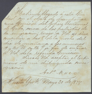 LT. GENERAL ANTONIO MACEO GRAJALES - MANUSCRIPT LETTER SIGNED 05/30/1878